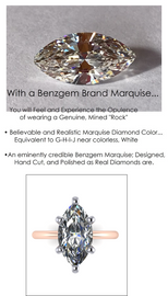5.08 Benzgem by GuyDesign®, Most Believable fake Diamond in the World, Custom 05.08 Carat Marquise Cut Dream Diamond, Classic Tiffany Solitaire Engagement Ring, 18 Karat Rose & Platinum, 6702