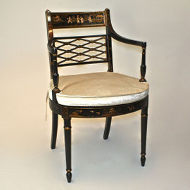 A Chinoiserie Chinese Style - 35 Inch Handcrafted Handpainted Arm Chair - Luxurie Furniture Finish Ebony Black EBN - Velvet Upholstery 053