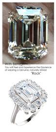 Princess Diana Ring/Natural G-H, VS 1.40 Carat Diamond Semi-Mount/3.95 Carat Emerald Cut Artificial Diamond/Most Believable and Realistic Benzgem by GuyDesign®/Platinum Ring/6714