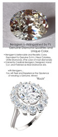 3.00 Benzgem by GuyDesign® 03.00 Carat Oval Shape Fantasy Diamond, Diamond White Cream Tint G-H-I-J Color Most Believable Fake Diamond, Natural G-H Color VS Clarity 1.44 Carat Diamond Semi-Mount, Diana Style Ring, Platinum, 6718