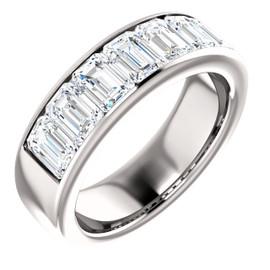#7922 Platinum GuyDesign Emerald-Cut Important Diamond Men's Channel Set Band Ring 5.25 Carats