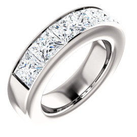 5.85 GuyDesign® 5x1.17ct= 05.85 Carat Quadrillion, Princess Cut, Important Diamond Men's Channel Set Platinum Band Ring 6726, G-H-I Color VS Clarity 5.85 Carat Diamonds