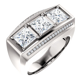 3.33 GuyDesign® 3x1.17ct= 03.33 Carat Quadrillion, Princess Cut, Important Diamond Men's Platinum Band Ring 6735, G-H-I Color VS Clarity 36x.008= .18 Carat Semi-Mount.