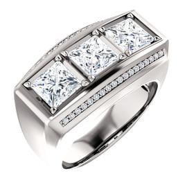 6735 GuyDesign® Platinum Mens 3 Square-Cut 3.6 Ct. Important Diamond Ring