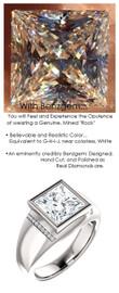 3.81 Benzgem by GuyDesign® 9x9mm.= 3.81ct Quadrillion, Princess Cut, Fantasy Diamond, 14k White Gold Men's Absalom Ring 6737, G-H Color SI1 Clarity 20 x .005= .10 Carat Natural Diamond Semi-Mount