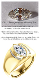 1.59 Benzgem by GuyDesign® 12x6= 01.59ct. Marquise Shape, Fantasy Diamond, 14k Yellow Gold Men's Absalom Ring 6740, G-H Color SI1 Clarity 20 x .005= .10 Carat Natural Diamond Semi-Mount