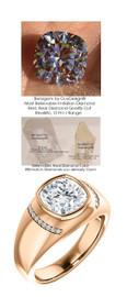 3.50 Benzgem by GuyDesign® 9x9mm.= 03.50ct. Cushion Shape, Fantasy Diamond, 14k Rose Gold Men's Absalom Ring 6741, G-H Color SI1 Clarity 20 x .005= .10 Carat Natural Diamond Semi-Mount