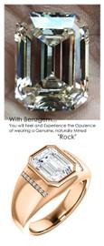 3.95 Benzgem by GuyDesign® 10x8mm.= 03.79ct. Standard Emerald Shape, Fantasy Diamond, 14k Rose Gold Men's Absalom Ring 6742, G-H Color SI1 Clarity 16 x .005= .08 Carat Natural Diamond Semi-Mount