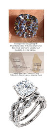 3.21 Benzgem by GuyDesign® 03.21 ct. Cushion Brilliant Cut, Believable G-H-I-J Natural Color Fantasy Diamond, 14k White Gold Ladies Rope Diamond Braid Engagement Ring 6758, G-H Color, SI1 Clarity .19 Ct. Mined Diamond Semi-Mount