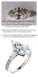1.59 Benzgem by GuyDesign® Precise Diamond Cut, Believable G-H Color Simulated Marquise Diamond 01.59 ct. Mined Diamond Semi-Mount G-H-I Color VS Clarity, Custom 14k White Gold Right Hand Ring 6793