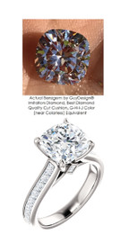 3.21 Benzgem by GuyDesign® Precise Diamond Cut, Believable G-H Color Simulated 03.21 Ct. Cushion Diamond, Mined Diamond Princess Accent Semi-Mount G-H-I Color VS Clarity, Custom 14k White Gold Channel Set Solitaire Ring 6801