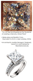 3.81 Benzgem by GuyDesign® Precise Diamond Cut, Believable I-J Color Simulated 03.81 Ct. Princess Diamond, Mined Diamond Semi-Mount G-H Color VS Clarity, Custom 14k White Gold Graduated Accent Solitaire Ring 6806
