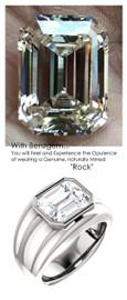 5.50 Benzgem by GuyDesign® 05.50 Carat Brilliant Emerald Shape, I-J Color Fantasy Diamond, 14k White Gold Mason 6815 Men's Large Rib Ring