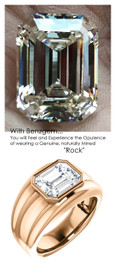 3.95 Benzgem by GuyDesign® 03.95 Carat Brilliant Emerald Shape, I-J Color Fantasy Diamond, 14k Rose Gold Mason 6816 Men's Large Rib Ring