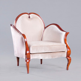 A Modern Louis Contemporary French Rococo Style - 34 Inch Handcrafted Bergere Salon Chair - Off White Velvet Upholstery 053 - Wood Tone Luxurie Furniture Finish M