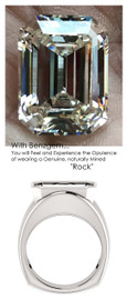 14.22 Benzgem by GuyDesign® 14.22 Carat Brilliant Emerald Shape, I-J Color Fantasy Diamond, 14k White Gold Mason 6818 Men's Large Rib Ring