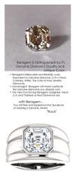 4.50 Benzgem by GuyDesign® 04.50 Carat Brilliant Asscher Shape, I-J Color Fantasy Diamond, 10 Karat White Gold Men's Large Rib Mason Ring 6827