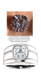 3.21 Benzgem by GuyDesign® 03.21 Carat Brilliant Cushion Shape, H-I Color Fantasy Diamond, Platinum Men's Large Rib Mason Ring 6835