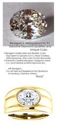 2.66 Benzgem by GuyDesign® 02.66 Carat Optically Efficient Oval Shape, I-J Color Imitation Diamond, 18k Yellow Gold Men's Large Rib Mason Ring 6836
