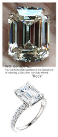 3.95 Benzgem by GuyDesign® Unforgettable, Most Believable, Original G-H-I-J Color 03.95 Ct. Emerald Hand Cut Diamond Copy, Mined Diamond Semi G-H Color VS Clarity, Custom 14k White Gold Jewelry 3/4 Eternity Solitaire Ring 6843