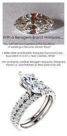 1.59 Benzgem by GuyDesign® Unforgettable, Most Believable, Original G-H-I-J Color 01.59 Ct. Marquise Shape Hand Cut Diamond Copy, Mined Diamond Semi G-H Color VS Clarity, Custom 14k White Gold Jewelry 3/4 Eternity Solitaire Ring 6847