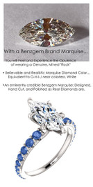 1.59 Benzgem by GuyDesign® Unforgettable, Most Believable, Original G-H-I-J Color 01.59 Ct. Marquise Shape Hand Cut Diamond Copy, Mined Ceylon Blue Sapphire Semi-Mount, Custom 14k White Gold Jewelry 3/4 Eternity Solitaire Ring 6849