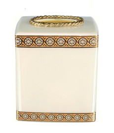 Luxe Life Polished Cream Glass and Gilt Bronze Ormolu, 6 Inch Tissue Box