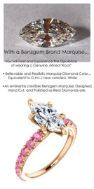 1.59 Benzgem by GuyDesign® Unforgettable, Most Believable, Original G-H-I-J Color 01.59 Ct. Marquise Shape Hand Cut Diamond Copy, Mined Pink Sapphire Semi-Mount, Custom 14k Rose Gold Jewelry 3/4 Eternity Solitaire Ring 6850