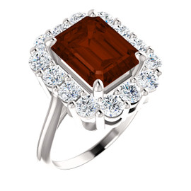 10 x 8 Emerald Shape Mined 10 x 8 Mozambique Garnet and Benzgem by GuyDesign® 01.40 Carats of Round Diamond Simulants, Diana Princess of Wales Ring, 14k White Gold, 6859