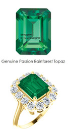10 x 8 Emerald Shape Mined 10 x 8 Green Rainforest Passion Topaz and Benzgem by GuyDesign® 01.40 Carats of Round Diamond Simulants, Diana Princess of Wales Ring, 14k Yellow Gold, 6862