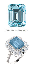 10 x 8 Emerald Shape Mined 10 x 8 Sky Blue Topaz and Benzgem by GuyDesign® 01.40 Carats of Round Diamond Simulants, Diana Princess of Wales Ring, 14k White Gold, 6863