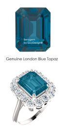 10 x 8 Emerald Shape Mined 10 x 8 London Blue Topaz and Benzgem by GuyDesign® 01.40 Carats of Round Diamond Simulants, Diana Princess of Wales Ring, 14k White Gold, 6864