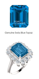 10 x 8 Emerald Shape Mined 10 x 8 Swiss Blue Topaz and Benzgem by GuyDesign® 01.40 Carats of Round Diamond Simulants, Diana Princess of Wales Ring, 14k White Gold, 6865