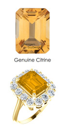 10 x 8 Emerald Shape Mined 10 x 8 Citrine Quartz and Benzgem by GuyDesign® 01.40 Carats of Round Diamond Simulants, Diana Princess of Wales Ring, 14k Yellow Gold, 6868