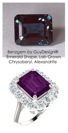 11 x 9 Benzgem by GuyDesign® Emerald Cut Lab-Created Chrysoberyl 11 x 9 Alexandrite and 01.68 Carats of Round Imitation Diamonds, Diana Princess of Wales Ring, 14k White Gold, 6870