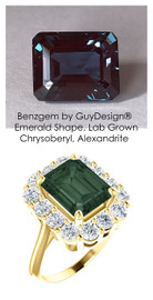11 x 9 Benzgem by GuyDesign® Emerald Cut Lab-Created Chrysoberyl 11 x 9 Alexandrite and 01.68 Carats of Round Imitation Diamonds, Diana Princess of Wales Ring, 14k Yellow Gold, 6871