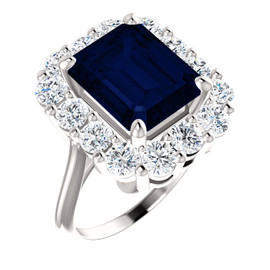 11 x 9 Emerald Shape, Lab-Created Corundum Benzgem by GuyDesign® 11 x 9 Blue Sapphire and 01.68 Carats of Round Diamond Simulants, Diana Princess of Wales Ring, 14k White Gold, 6874