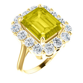 11 x 9 Emerald Shape, Lab-Created Corundum Benzgem by GuyDesign® 11 x 9 Yellow Sapphire and 01.68 Carats of Round Diamond Simulants, Diana Princess of Wales Ring, 14k Yellow Gold, 6875
