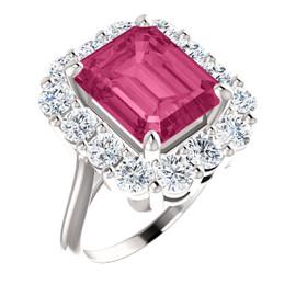 11 x 9 Emerald Shape, Lab-Created Corundum Benzgem by GuyDesign® 11 x 9 Hot Pink Ruby and 01.68 Carats of Round Diamond Simulants, Diana Princess of Wales Ring, 14k White Gold, 6879