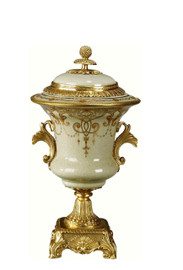 Luxe Life Celadon Flourish Finely Finished Porcelain and Gilt Bronze Ormolu, 14 Inch Covered Urn