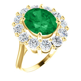11 x 9 Benzgem by GuyDesign® Oval Shape Lab-Created Columbian Color 11 x 9 Beryl Emerald and Round Diamond Simulants 01.80 cts., Diana Princess of Wales Ring, 14k Yellow Gold, 6882