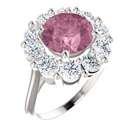 9 x 9 Benzgem by GuyDesign® Round Shape Lab-Created Corundum 9 x 9 Vivid Pink Sapphire and 01.60 Carats of Round Diamond Simulants, Diana Princess of Wales Ring, 14k White Gold, 6886