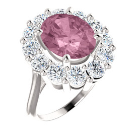 11 x 9 Benzgem by GuyDesign® Oval Shape Lab-Created Corundum 11 x 9 Vivid Pink Sapphire and 01.80 Carats of Round Diamond Simulants, Diana Princess of Wales Ring, 14k White Gold, 6887