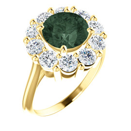 9 x 9 Benzgem by GuyDesign® Round Shape Lab-Created Chrysoberyl 9 x 9 Alexandrite and 01.60 Carats of Round Imitation Diamonds, Diana Princess of Wales Ring, 14k Yellow Gold, 6890