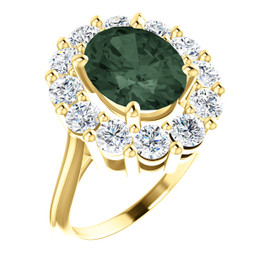11 x 9 Benzgem by GuyDesign® Oval Lab-Created Chrysoberyl 11 x 9 Alexandrite and 01.80 Carats of Round Imitation Diamonds, Diana Princess of Wales Ring, 14k Yellow Gold, 6891