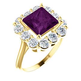 9 x 9 Benzgem by GuyDesign® Princess Cut Lab-Created Chrysoberyl 9 x 9 Alexandrite and 01.80 Carats of Round Imitation Diamonds, Diana Princess of Wales Ring, 14k Yellow Gold, 6894