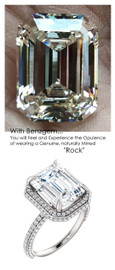 5.50 Carat, Luxury Emerald Cut Benzgem Solitaire, Benzgem Diamond Quality Color and Cut matches believably the Natural 185 Diamond Semi-Mount; GuyDesign® Halo Design Engagement or Right Hand Ring, Platinum, 6895,