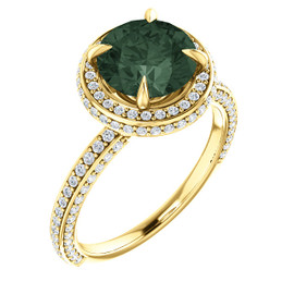 2.5 Carat, Round Cut Lab-Grown Chrysoberyl Alexandrite, Natural 168 Diamond Semi-Mount; GuyDesign® Halo Design Engagement or Right Hand Ring, 14k Yellow Gold, 6898