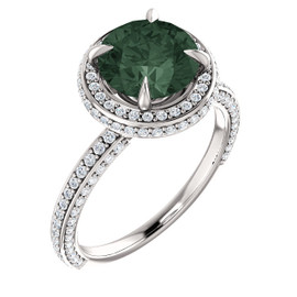 2.5 Carat, Round Cut Lab-Grown Chrysoberyl Alexandrite, Natural 168 Diamond Semi-Mount; GuyDesign® Halo Design Engagement or Right Hand Ring, 14k White Gold, 6899