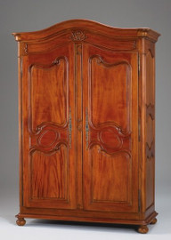 A Provincial French - 88 Inch Handcrafted Reproduction Armoire | Wardrobe | TV Cabinet - Distressed Walnut Wood Luxurie Furniture Finish NWND